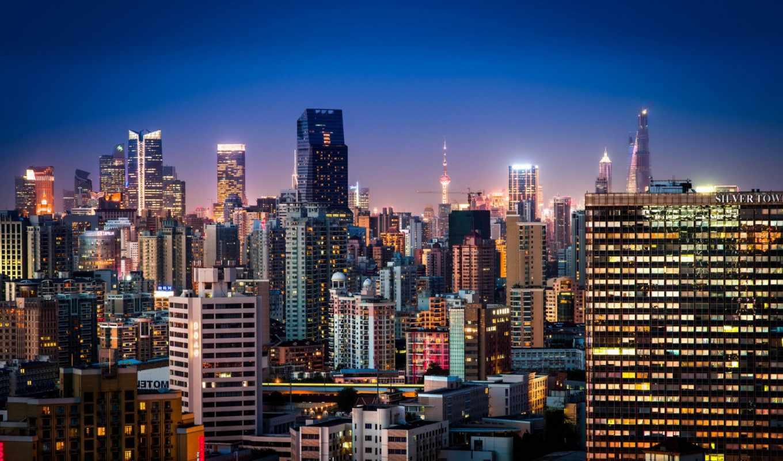 shanghai, china, город, ночь, заставки, только, daily,
