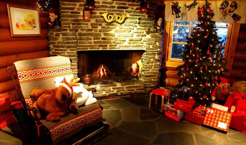 дерево, камин, комната, сувениры, год, new, праздники,