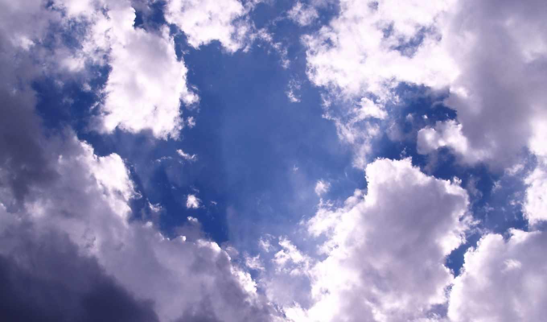 облака, белые, небо, сквозь, взгляд, голубое, виднеется,