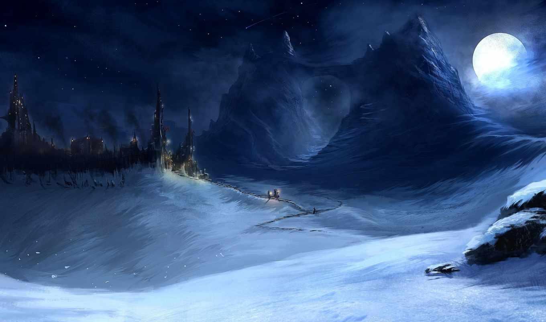 горы, ночь, снег, огни, луна, замок,