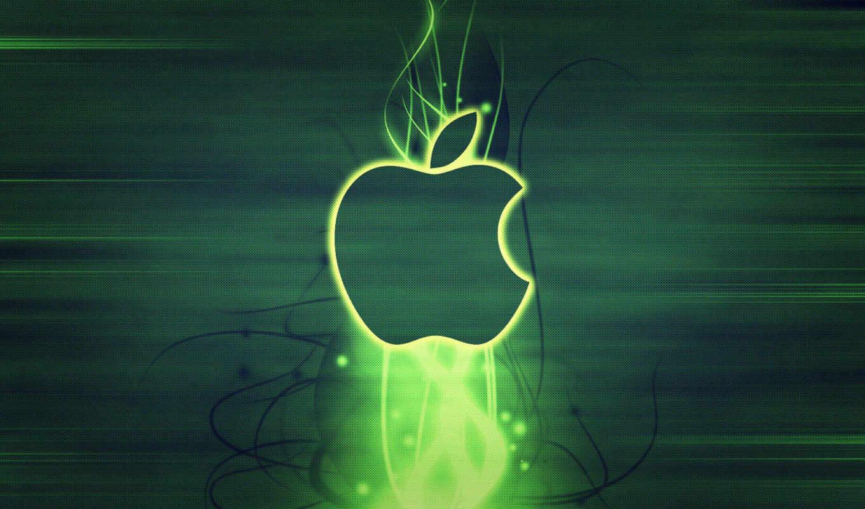 apple, лого, зелёный, абстракция