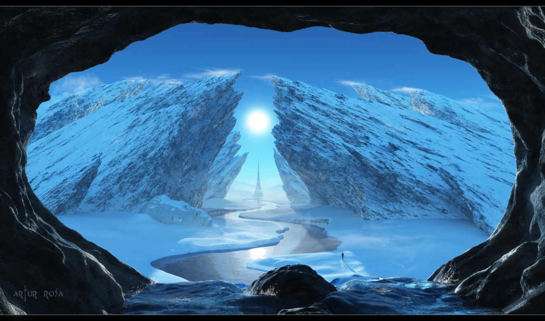 скалы, дорога, winter, свет, solstice,