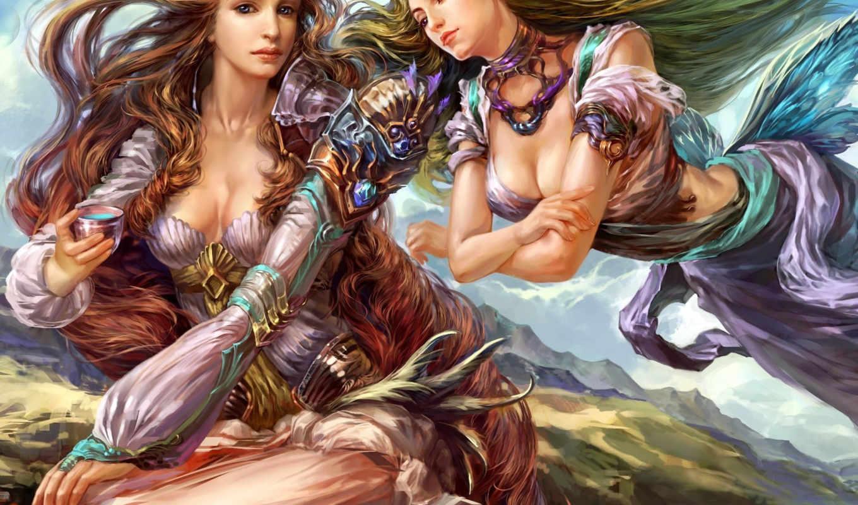 девушки, фэнтези, эльфы, рисунок, горы, наряд, фея, эльф, fantasy, девушка,