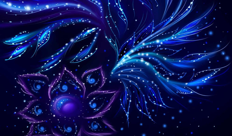 абстракция, flower, узоры, лепестки, художество, синее, neon,