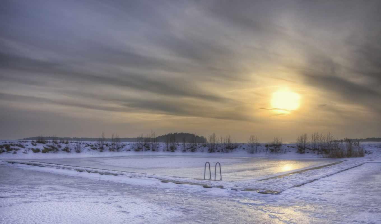 вечер, лед, зима, озеро, солнце, снег, бассейн, швеция,
