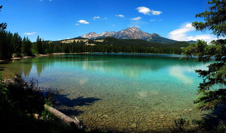 озеро, canada, небо, вода, деревья, горы, park, national, картинка,
