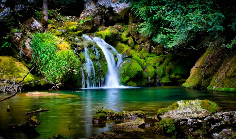 водопады, водопад, картинку, природа, скалы, разделе,