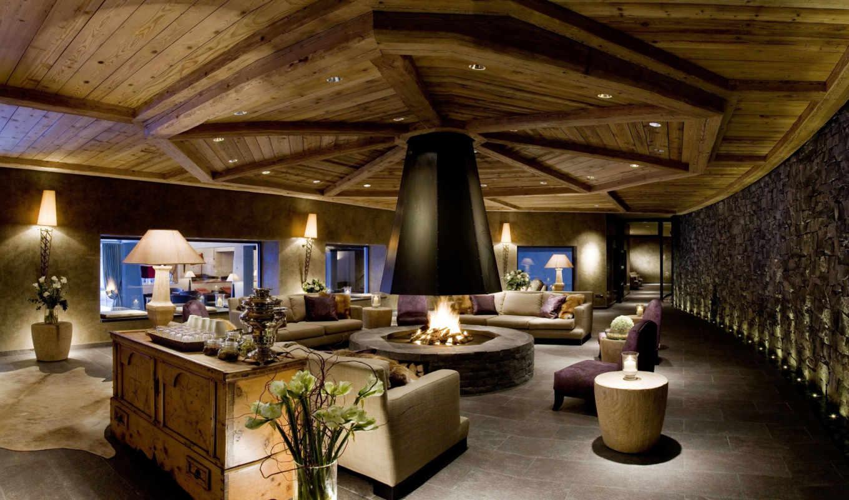 камин, комната, диваны, огонь, интерьер, desigen, чайник, тумба, house,