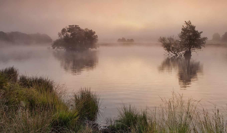 туман, park, природа, утро, берег, коллекция, озеро, richmond,