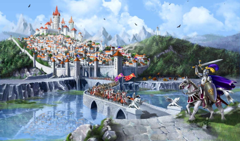 fantasy, castle, город, марина, kecman, middle, ages, wood,