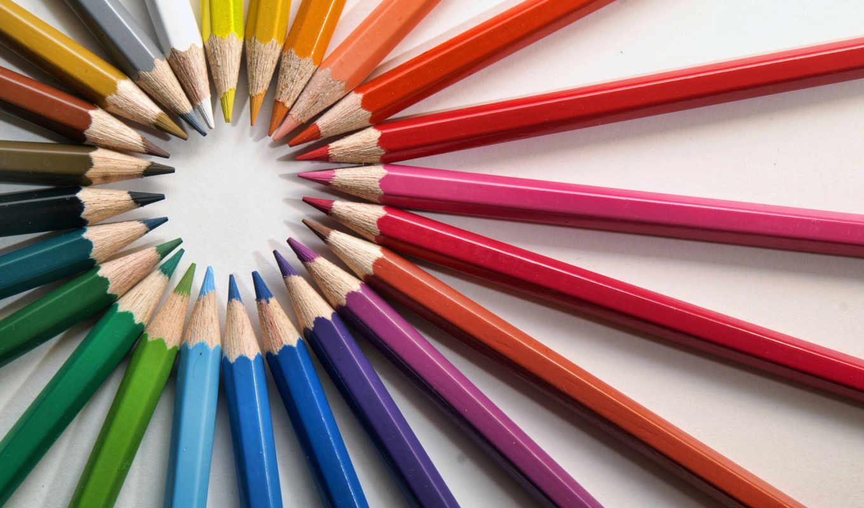 карандаши, радуга, краски, цветные, white, креатив,