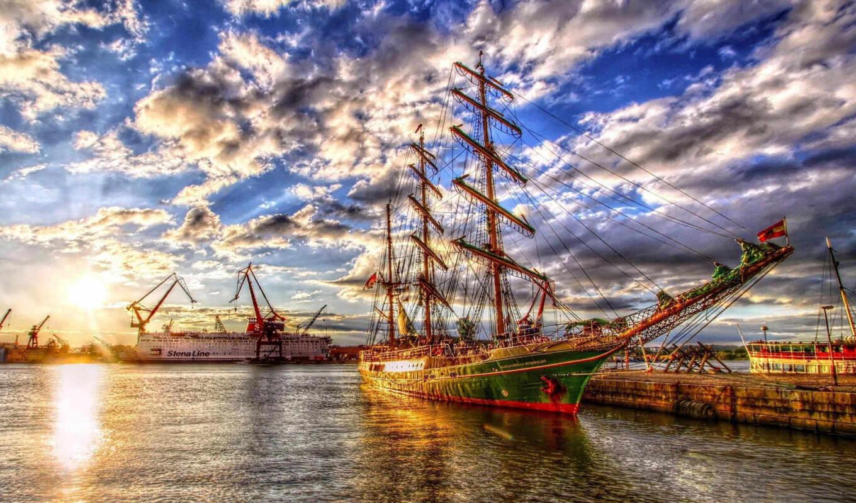 корабль, hdr, ships, desktop, free, sail, фон,