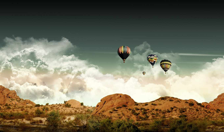 мяч, aerial, небо, шары, воздушные, landscape,