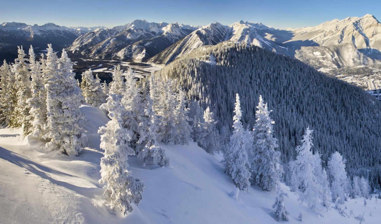 снег, banff, канада, зима, горы, kanada, природа, года,