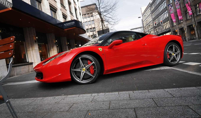 ferrari, italia, красная, парковка, улица, взгляд,