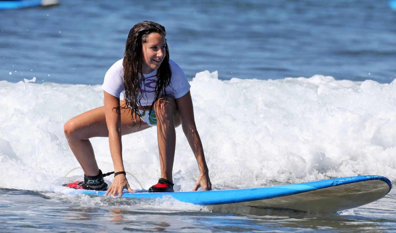 девушка, серфинг, доска, волна, равновесие
