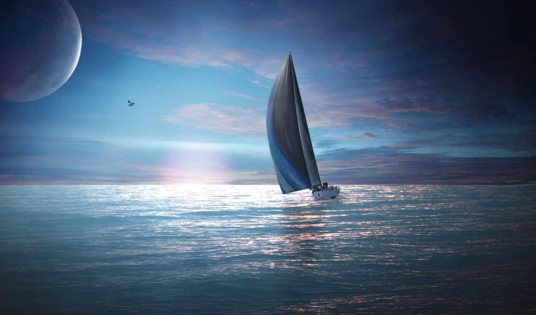 море, яхта, закат, вечер, sail, sailboat, луна, небо, ветер, парусник, спорт,