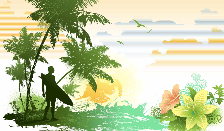 surf, пляж, ipad, море, desktop, letterhead, trees,