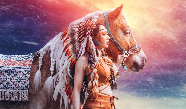 indeec, лошадь, devushka, красивый, стоят, кон, indian, хорошії, животное, небо, бесплатный