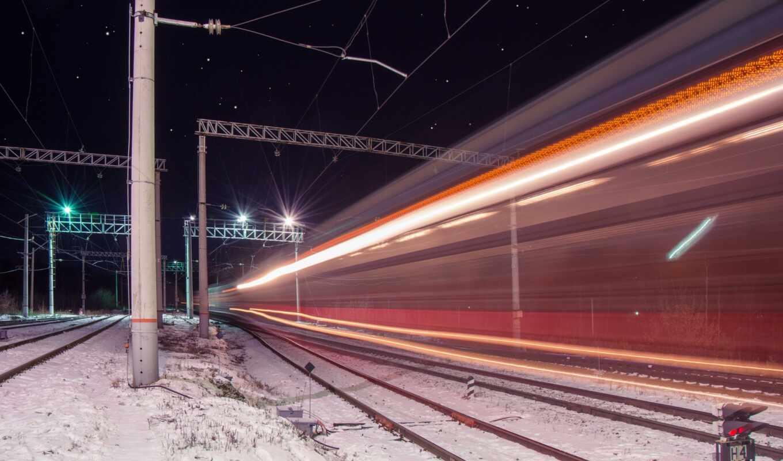 огни, ночь, дорогой, поезд, iron, огонь, electrical, railroad, сеть