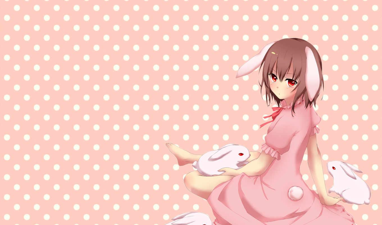 tewi, inaba, animal, hair, ears, bunny, red, dress, touhou, eyes, аниме, short, bunnygirl, фабрика, picsfab, изображение, картинок,