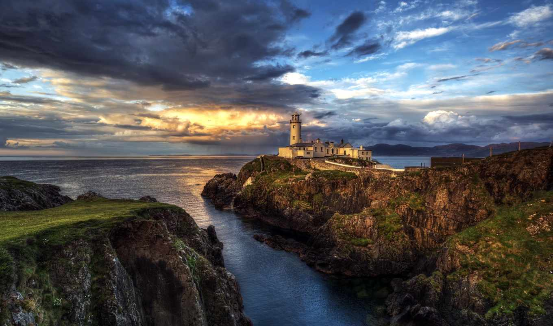 скалы, маяк, побережье, море, мохер, западном, ireland, пейзажи -,