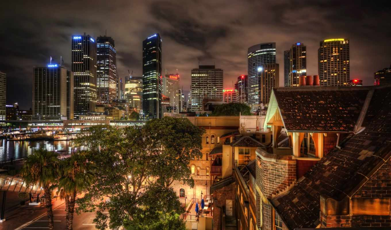 города, город, ночь, городов, сидней, дома, австралия, print, ночных, виды,
