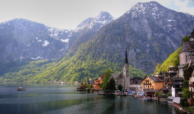 австрия, горы, дома, озеро, church,