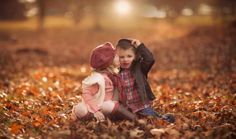 cute, девушка, поцелуй, boy, пасть, листья,