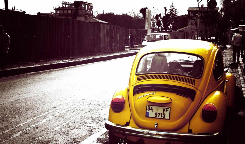 volkswagen, жук, yellow, car, машина,