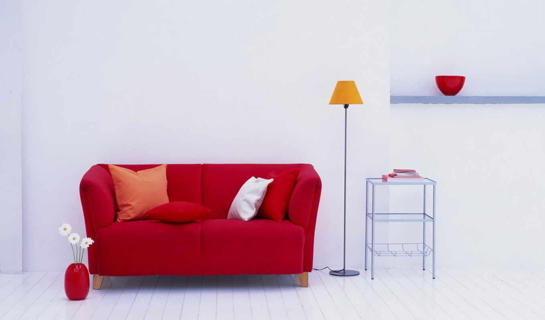 лампа, диванчик, цветы, подушки, ваза, красный, интерьер, разное, room, day, изображение, картинку, стены, кнопкой, vinyl, белый, картинка, правой, wxga,