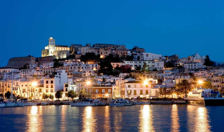 ночь, испания, яхты, ибица, свет, море, домики, остров, огни, картинка,