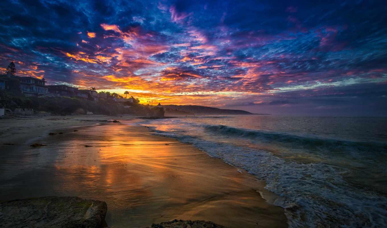 море, bay, пляж, тучи, утро,