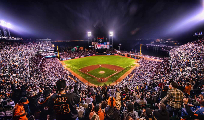 california, калифорния, ночь, francisco, san, baseball, огни,