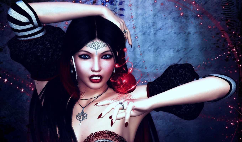 девушка, амулет, магия, art, украшения, фэнтези,
