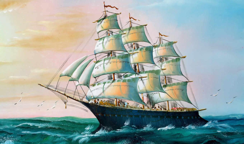 корабль, рисунок, море,