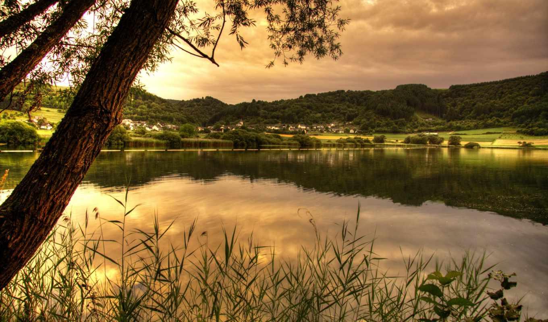 maar, картинка, sommerabend, peierl, meerfelder, heinz, природа, реки, am, озеро,