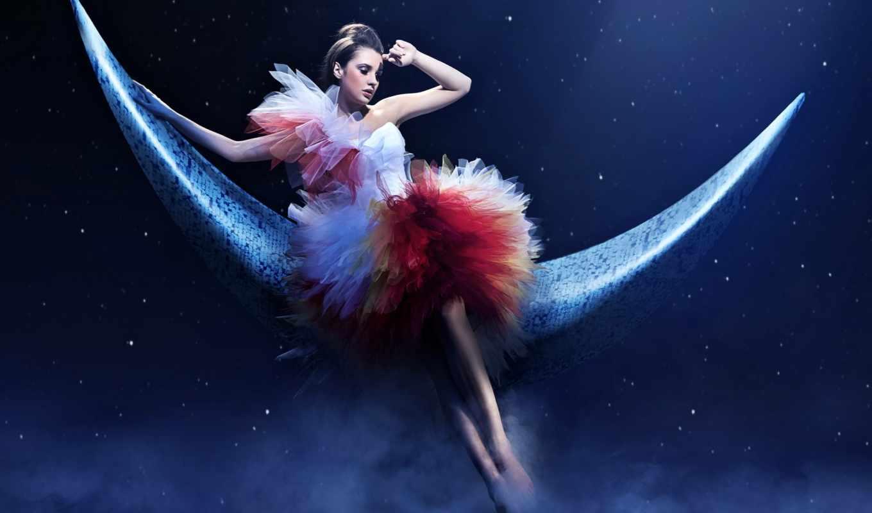 ночь, звезды, девушка, женщина, month, сделать, смотреть,