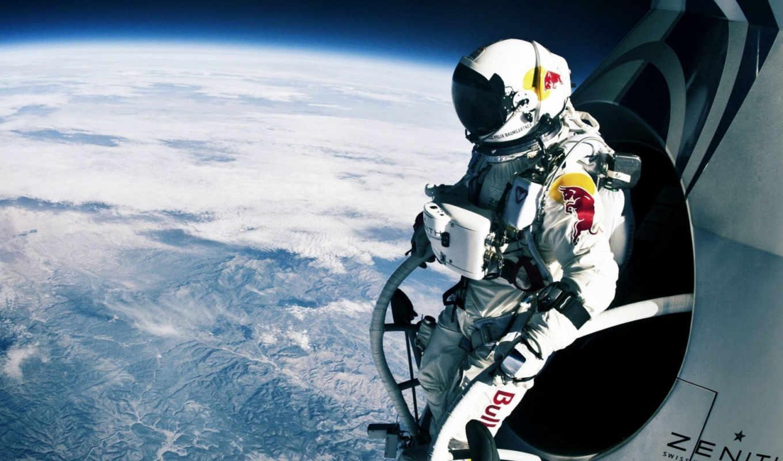 прыжок, стратосферы, red, bull, открытом, космосе, баумгартнер, феликс, record, land,