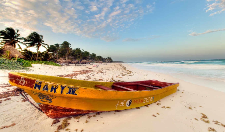 пальмы, пляж, ocean, лодка, песок, море, ветер,