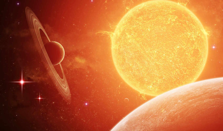 обои, космос, солнце, планеты, космическую, яркие,