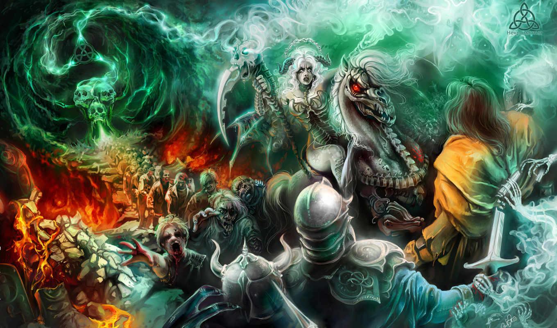 битва, демоны, монстры, картинку, картинка, правой, ней, кнопкой, мыши, выберите, скачивания, разрешением, save, дивы, люстмонд, девушка, нежить,