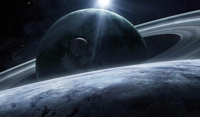 планеты, звезды, космос, спутник, арт, qaz, кольца, planet, картинку,