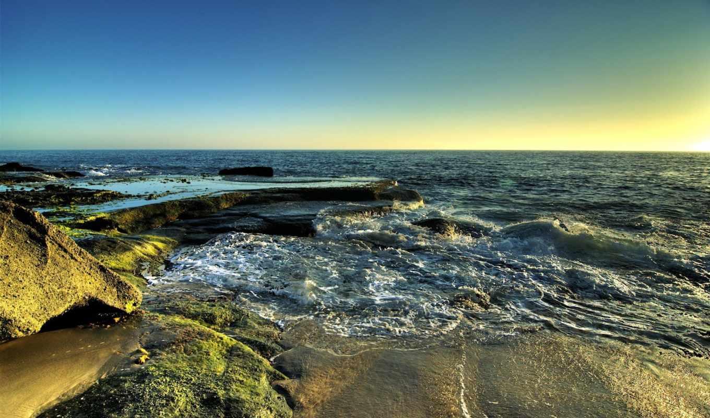 море, волны, песок, landscapes, waves, beach, картинку,