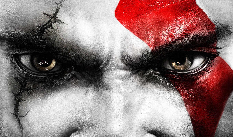 war, god, kratos, eyes, глаза, games,