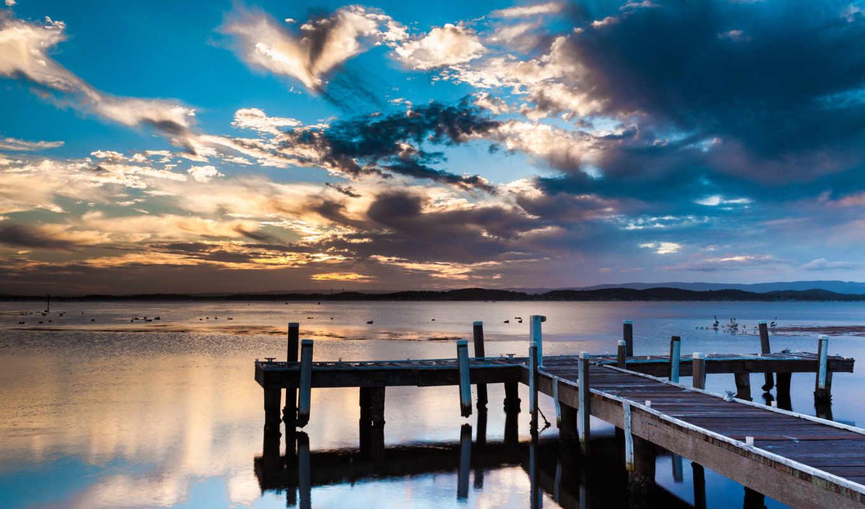 небо, птицы, пирс, вода, облака, пелеканы,