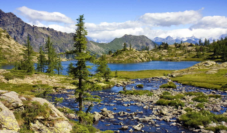 горы, природа, пейзаж, озеро, телефон,