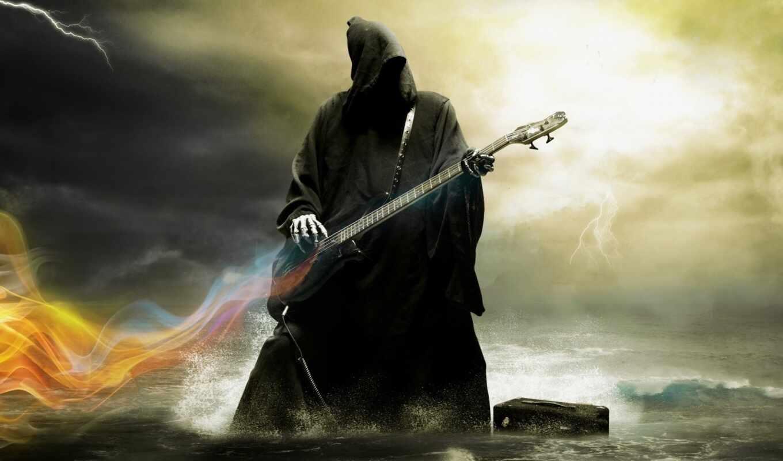 смерть, гитара, скелеты, музыка, небо, water,
