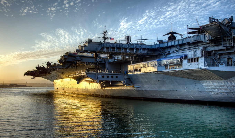авианосец, uss, midway, корабль, usa, закат, американский,