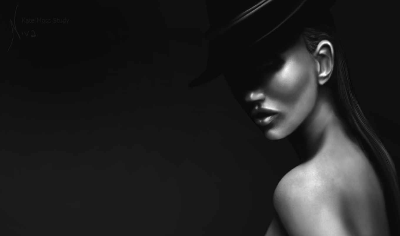 девушка, шляпе, черной, модель, краской,